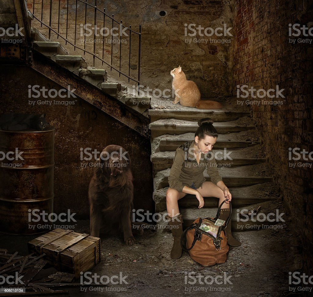 Girl and robbery. stock photo