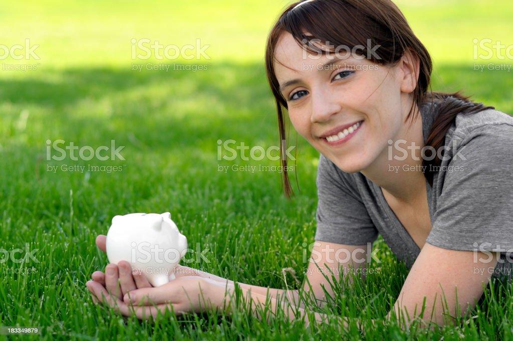 Girl and savings royalty-free stock photo