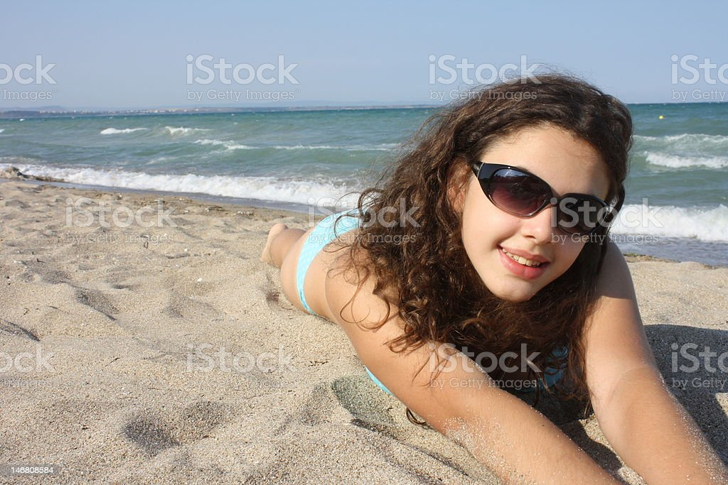 Girl and sea royalty-free stock photo