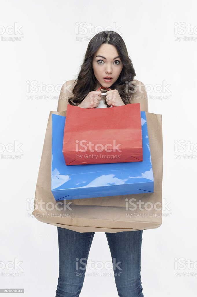 Girl and shopping stock photo
