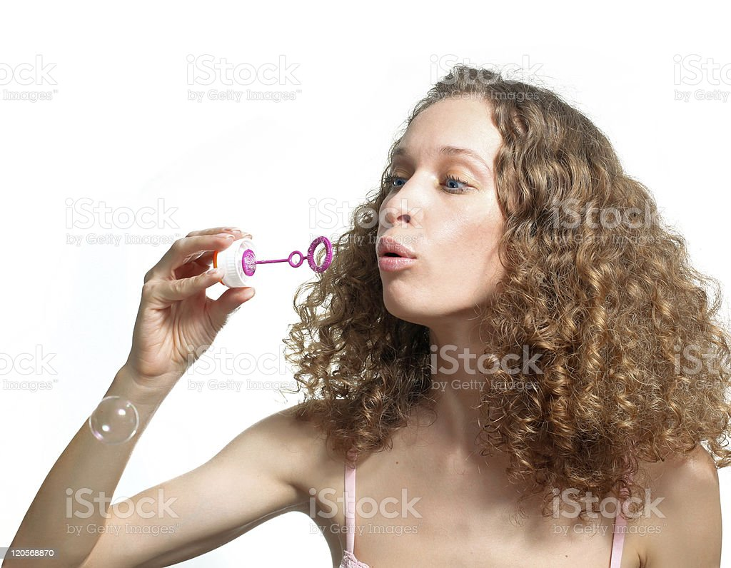 girl and soap bubbles stock photo