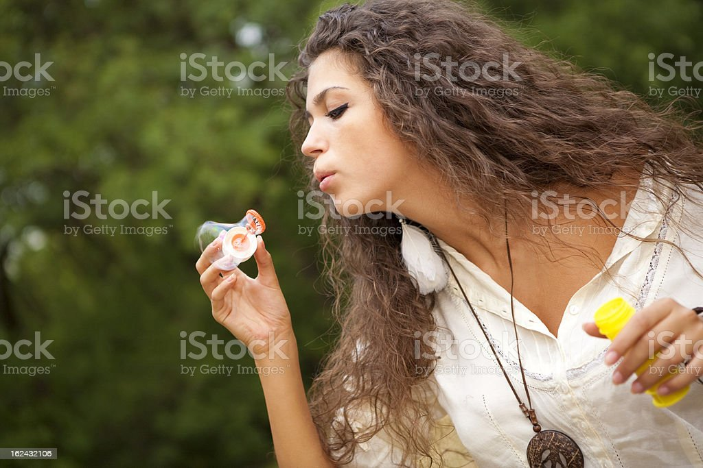 Girl and soap bubbles royalty-free stock photo
