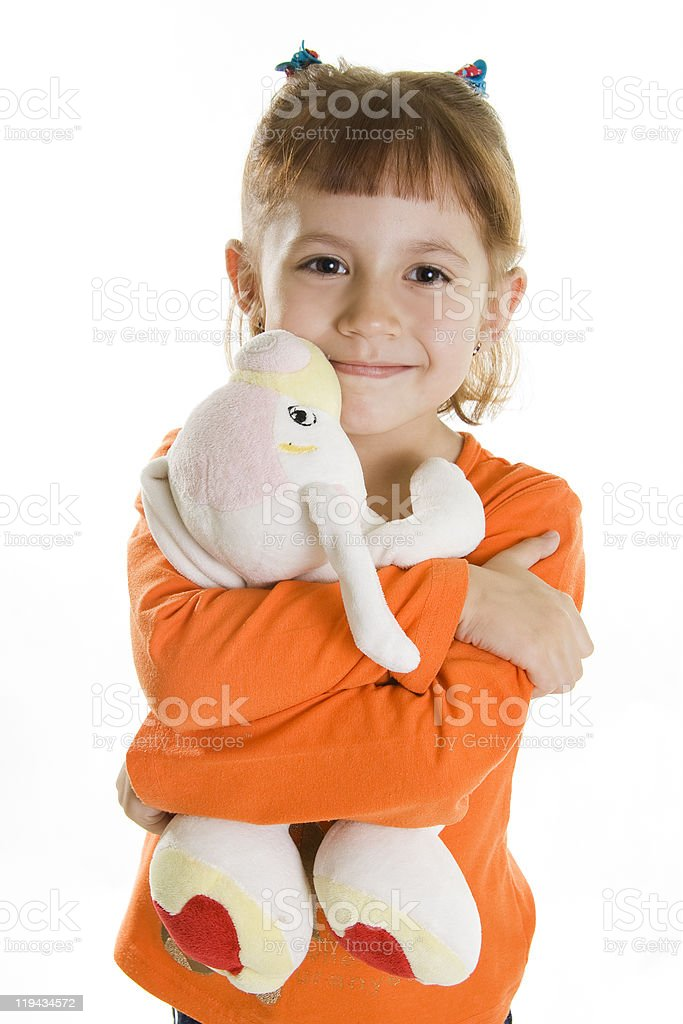 Girl and soft toy bunny stock photo
