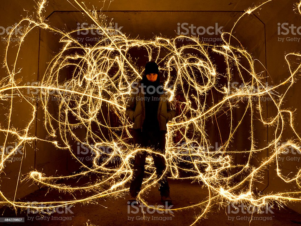 Girl and sparklers stock photo