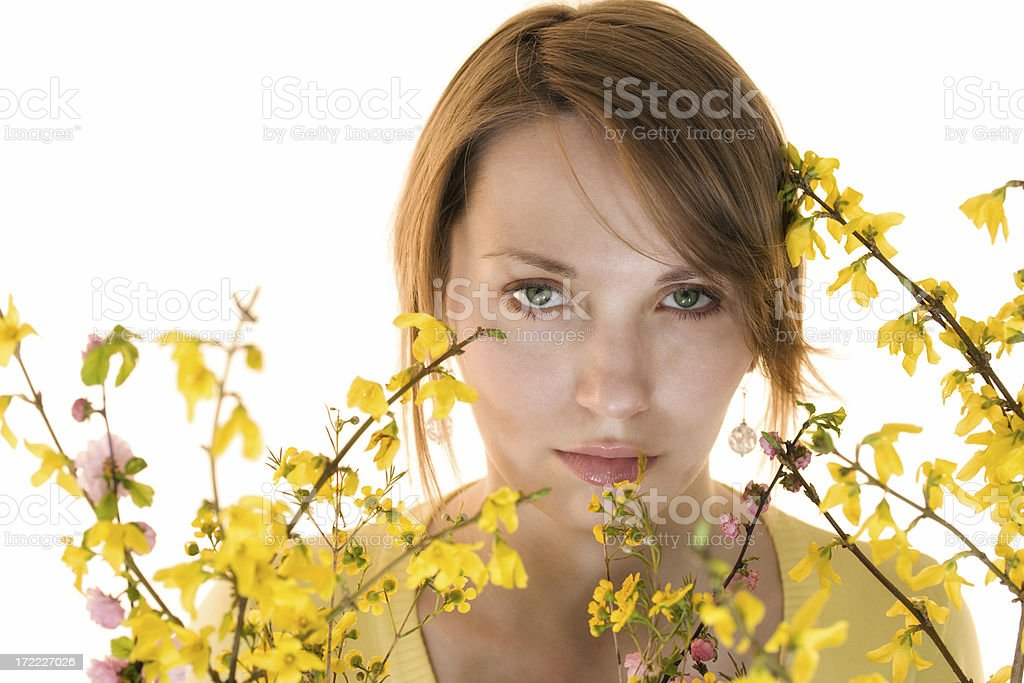 Girl and spring flowers royalty-free stock photo