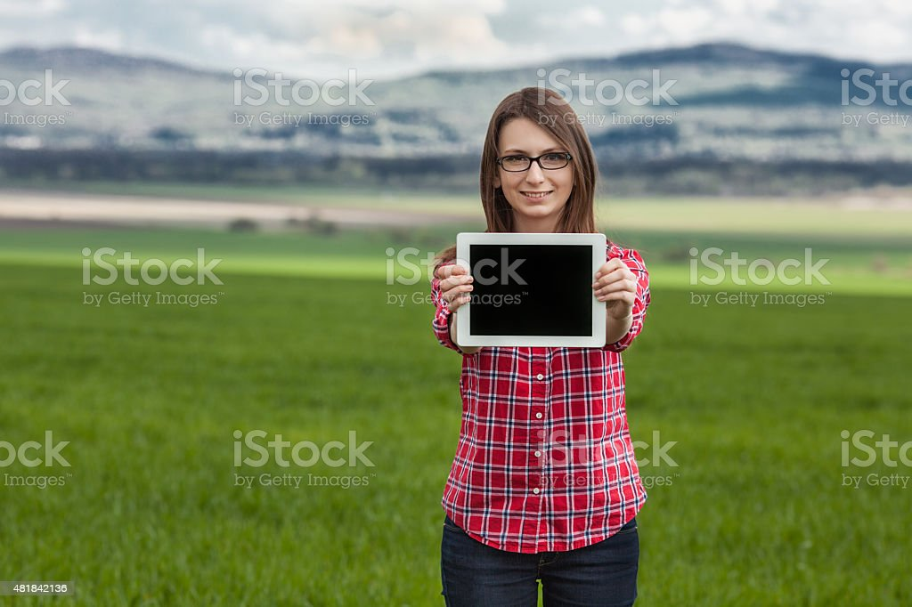girl and tablet and nature royalty-free stock photo