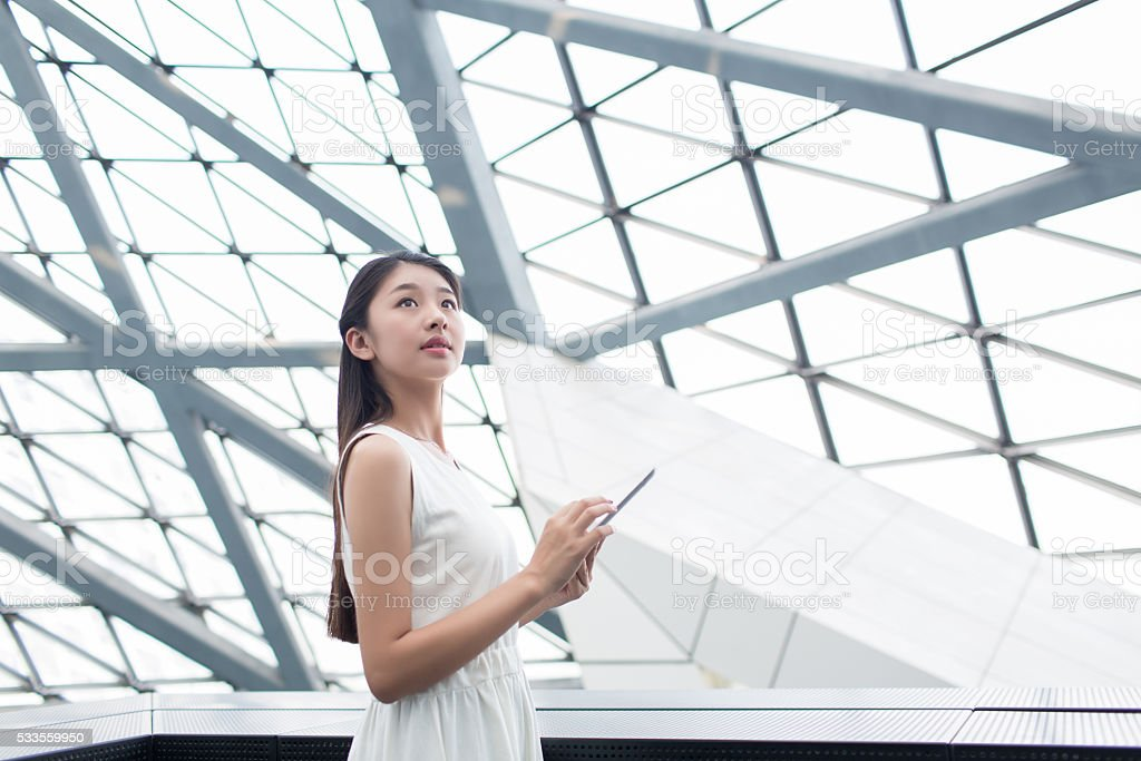 girl and tablet PCs stock photo