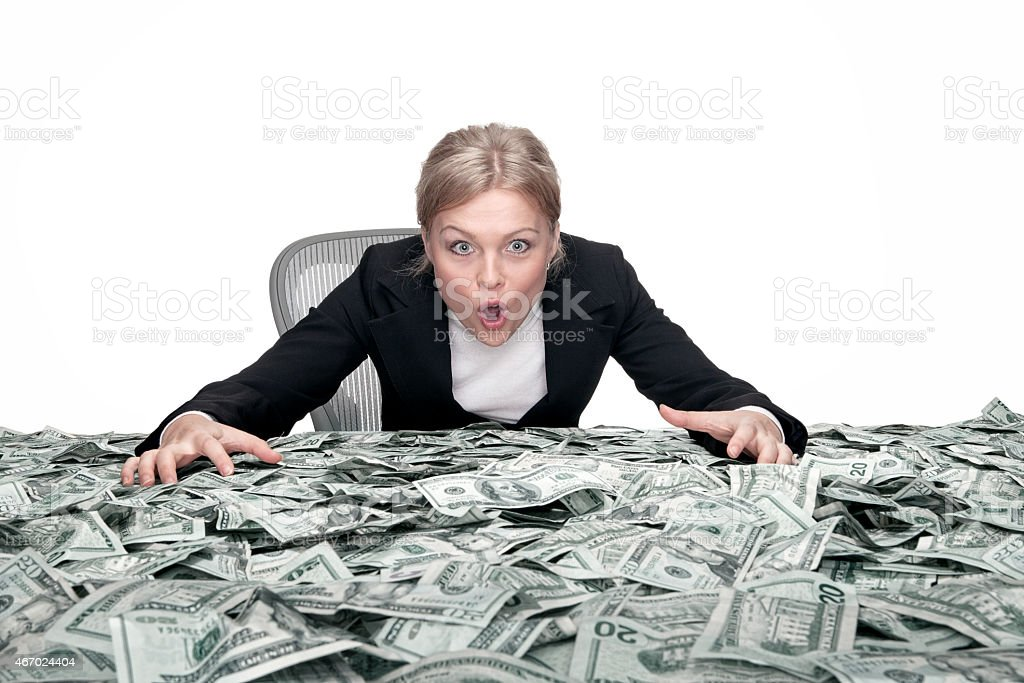 girl and the cash stock photo