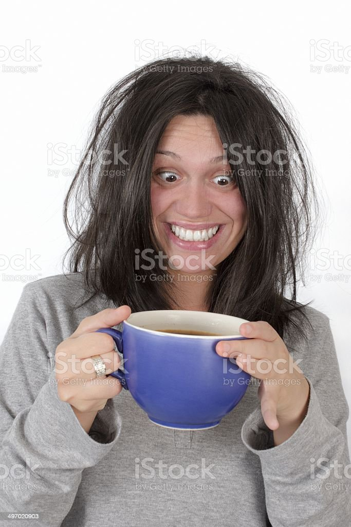Girl and the cup of morning coffee stock photo