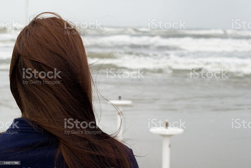 girl and the sea stock photo