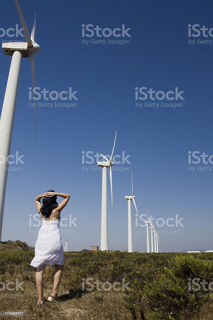 girl and the windmill royalty-free stock photo