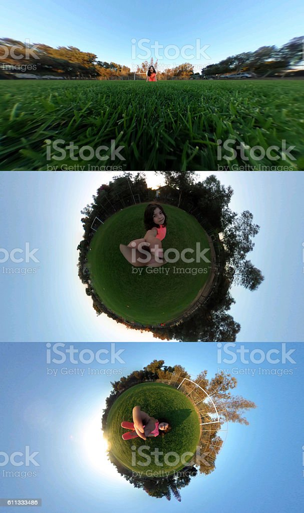 Girl and the world stock photo