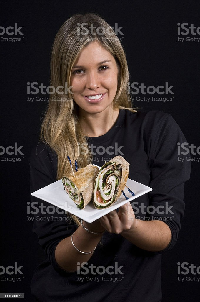 Girl and the Wrap Sandwich stock photo