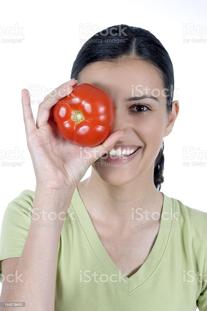 girl and tomato royalty-free stock photo