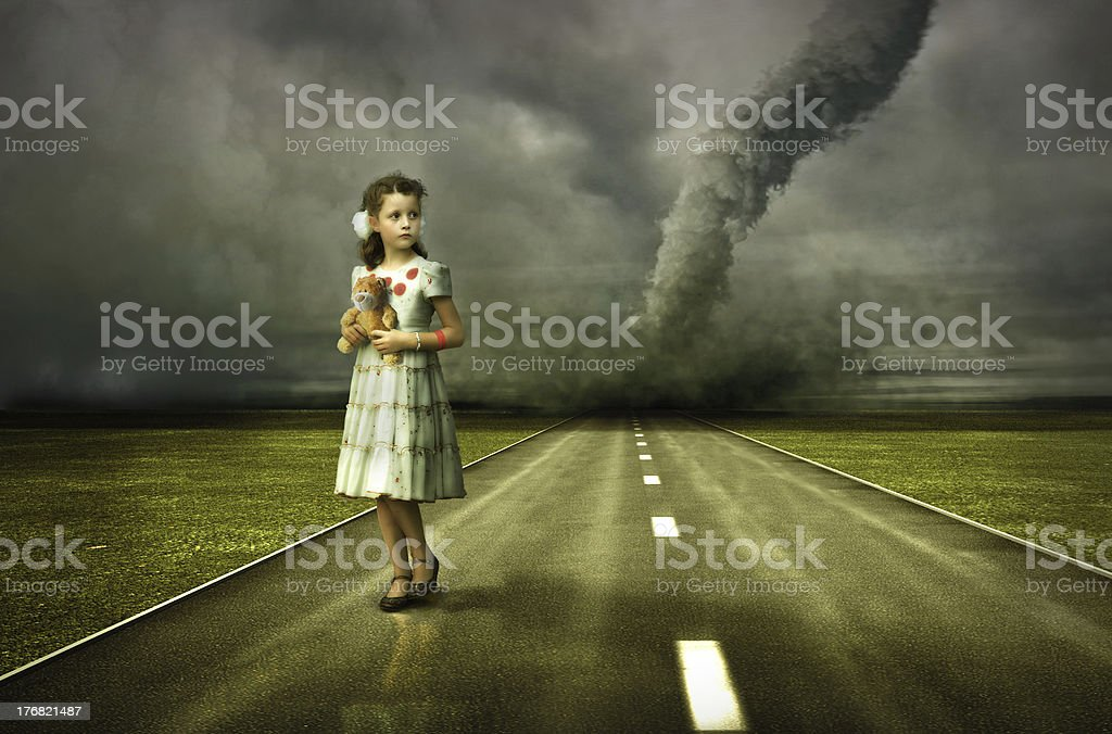 girl and tornado royalty-free stock photo