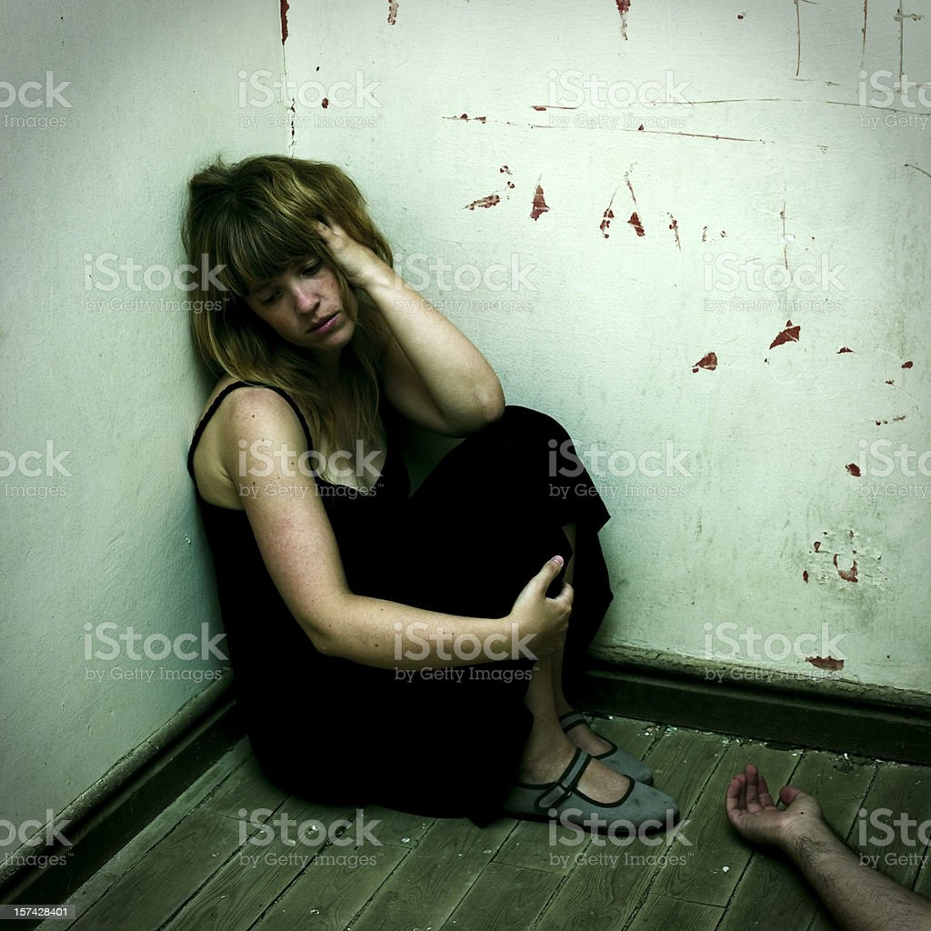 Girl and tragedy stock photo