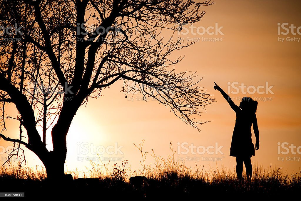 Girl and tree. royalty-free stock photo