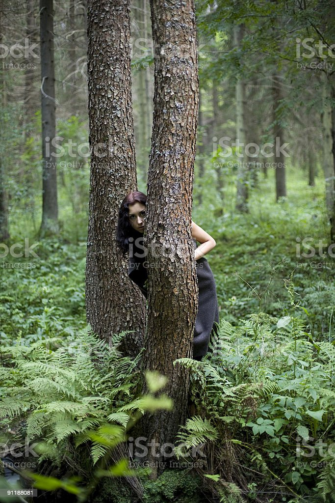 girl and trees stock photo