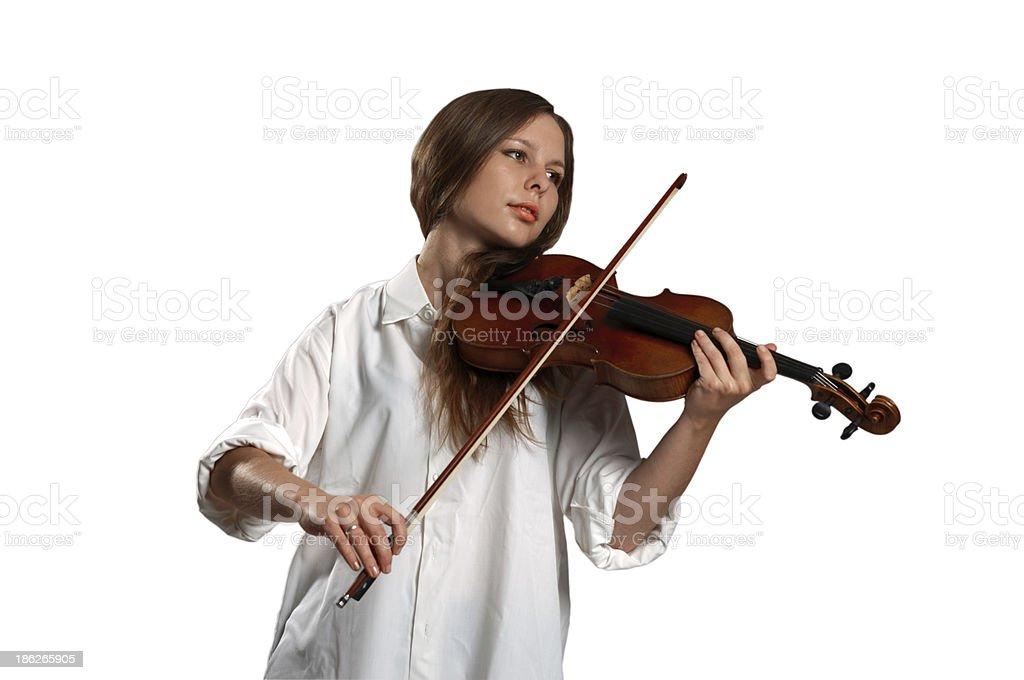 Girl and violin royalty-free stock photo