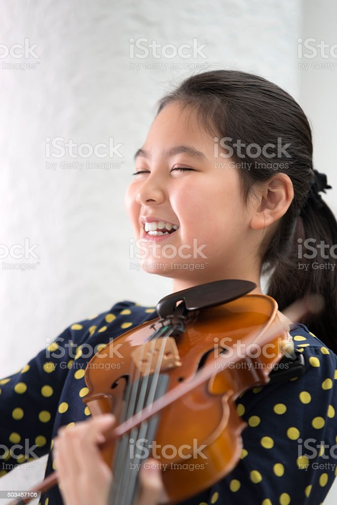 Girl and Violin stock photo