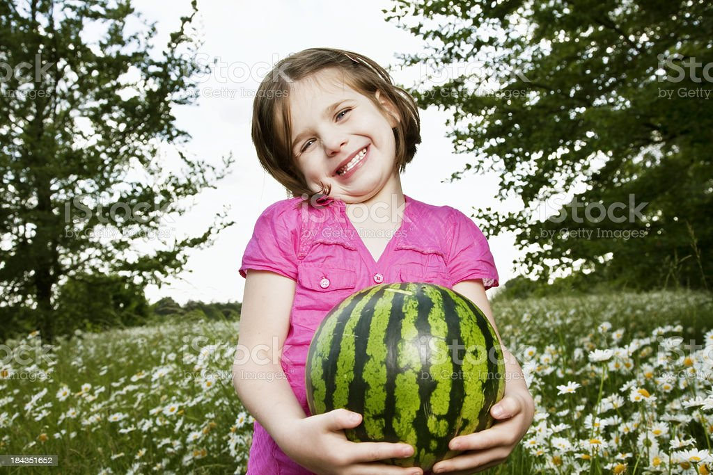 girl and watermelon royalty-free stock photo