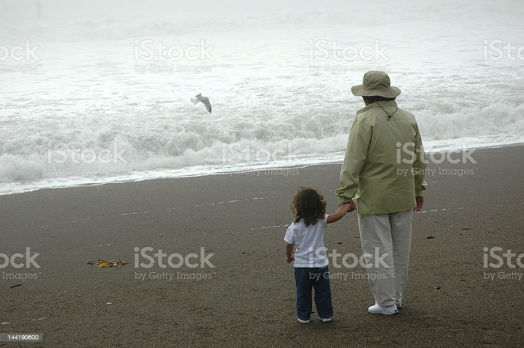 Girl and woman watching seagull royalty-free stock photo