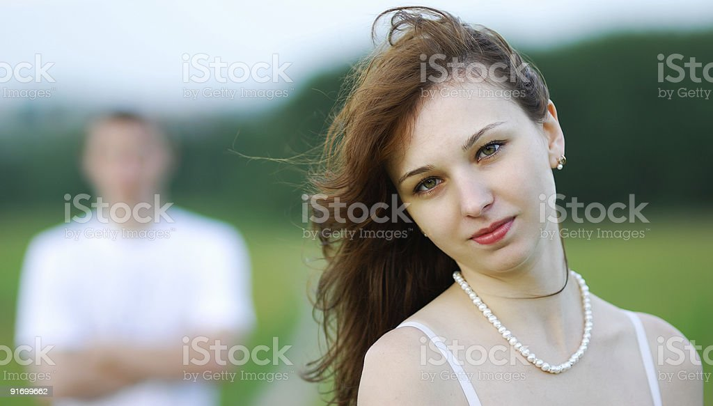 Girl and young man royalty-free stock photo