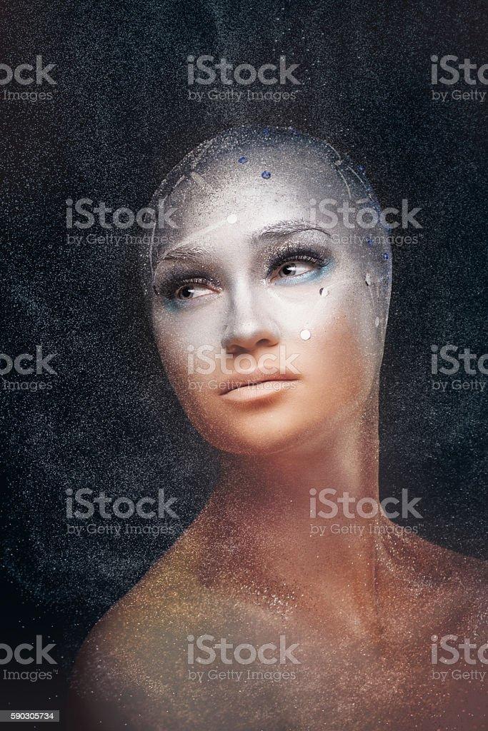 Girl astronomer. Cosmological astrologer. stock photo