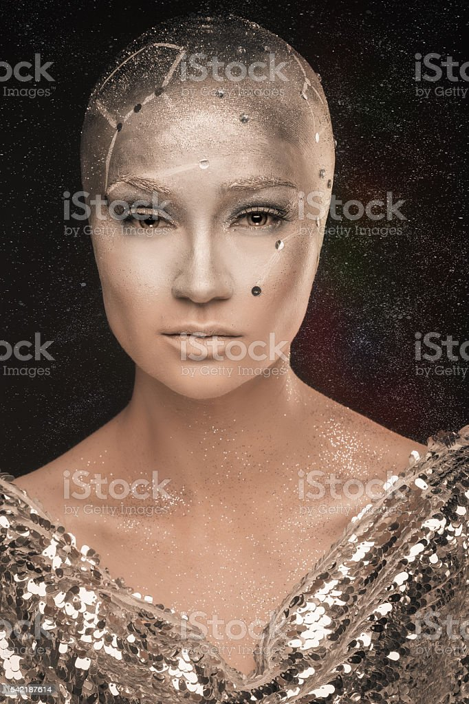 Girl astronomer. Prophet. Mixed light. stock photo