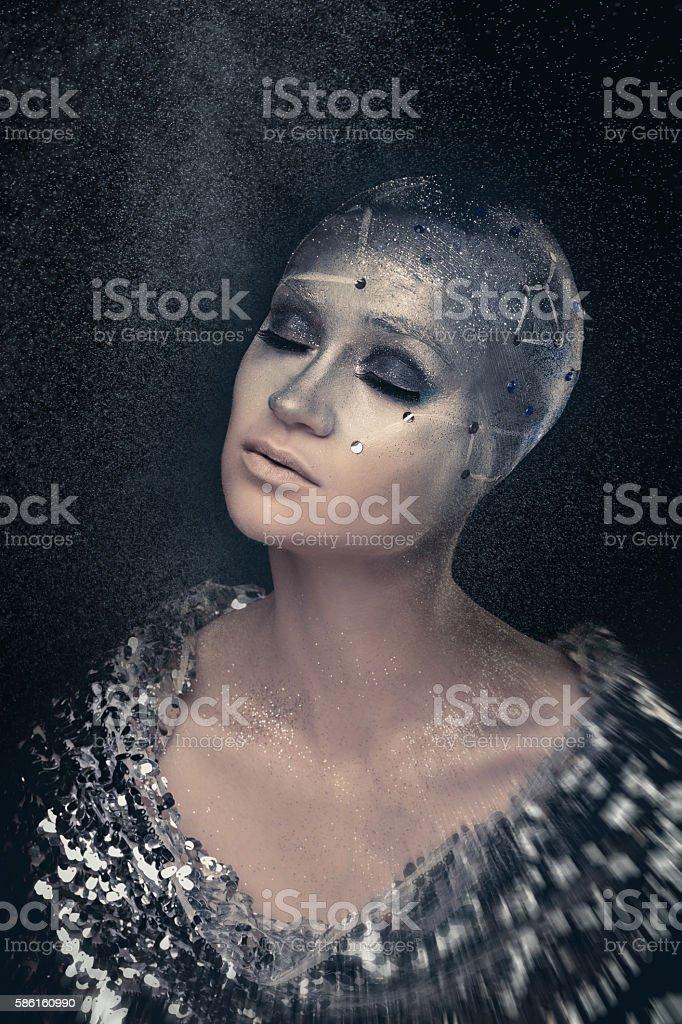 Girl astronomer. Universe. Bald. stock photo