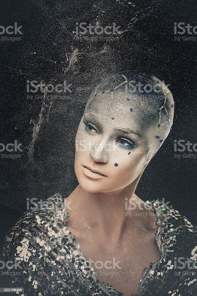 Girl astronomer. Universe. Makeup. stock photo