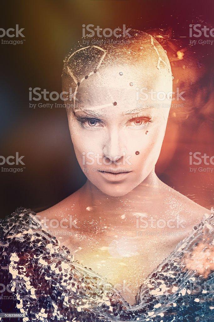 Girl astronomer. Universe. Mixed light. stock photo