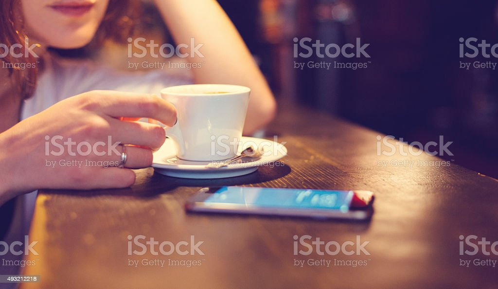 Girl at a coffee break stock photo