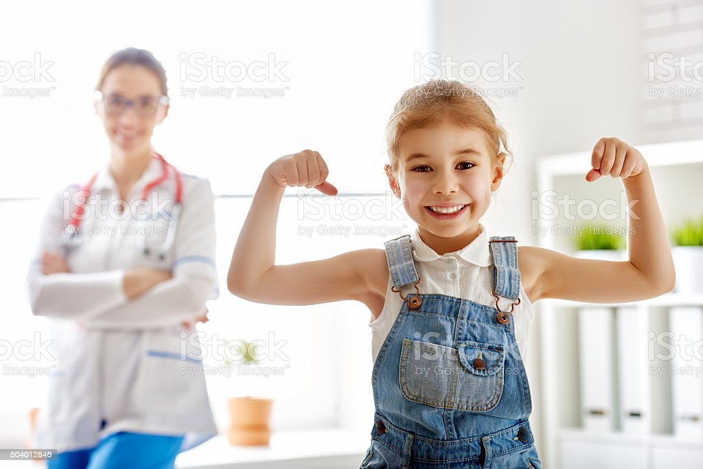 girl at a doctor's stock photo