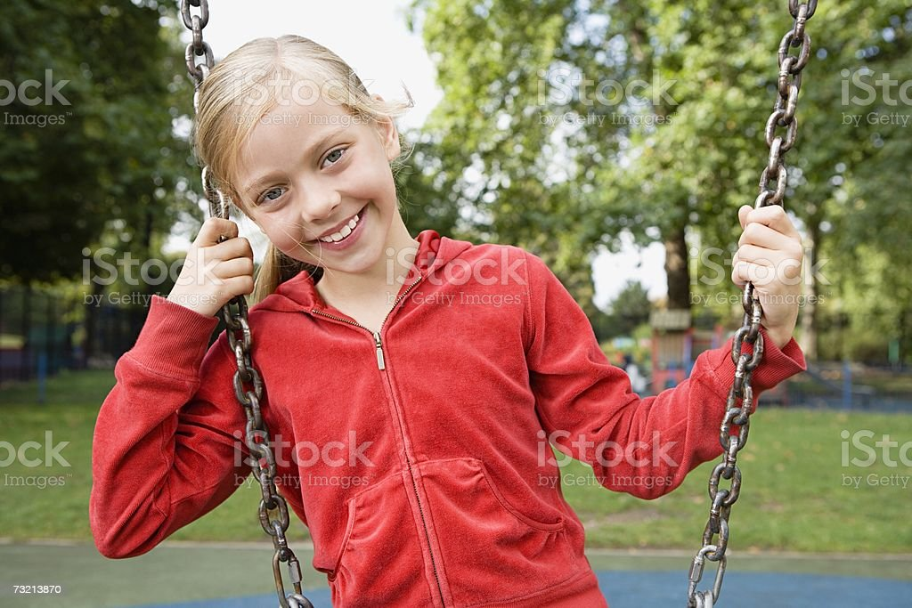 Girl at a playground royalty-free stock photo