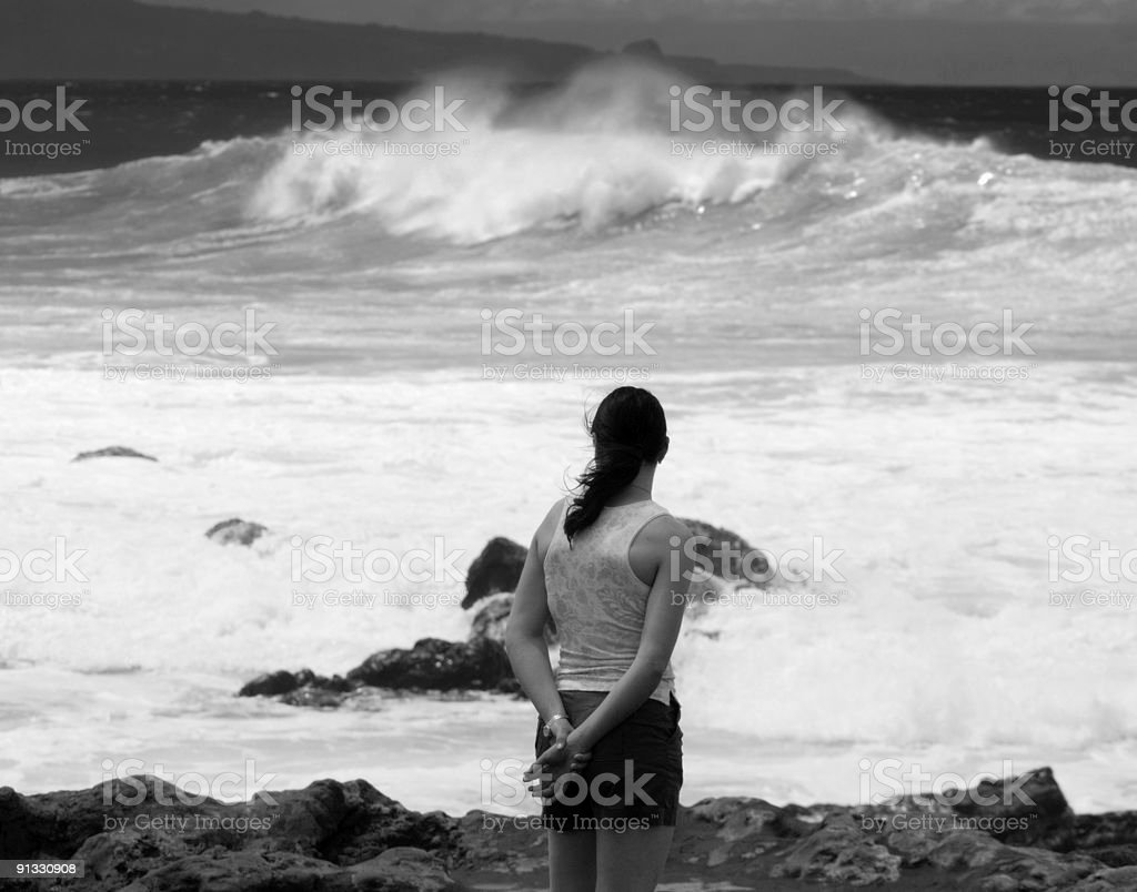 Girl at beach royalty-free stock photo