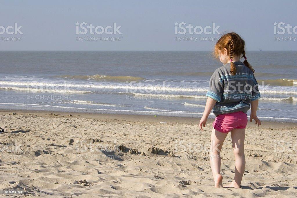 girl at beach, ready tro run royalty-free stock photo