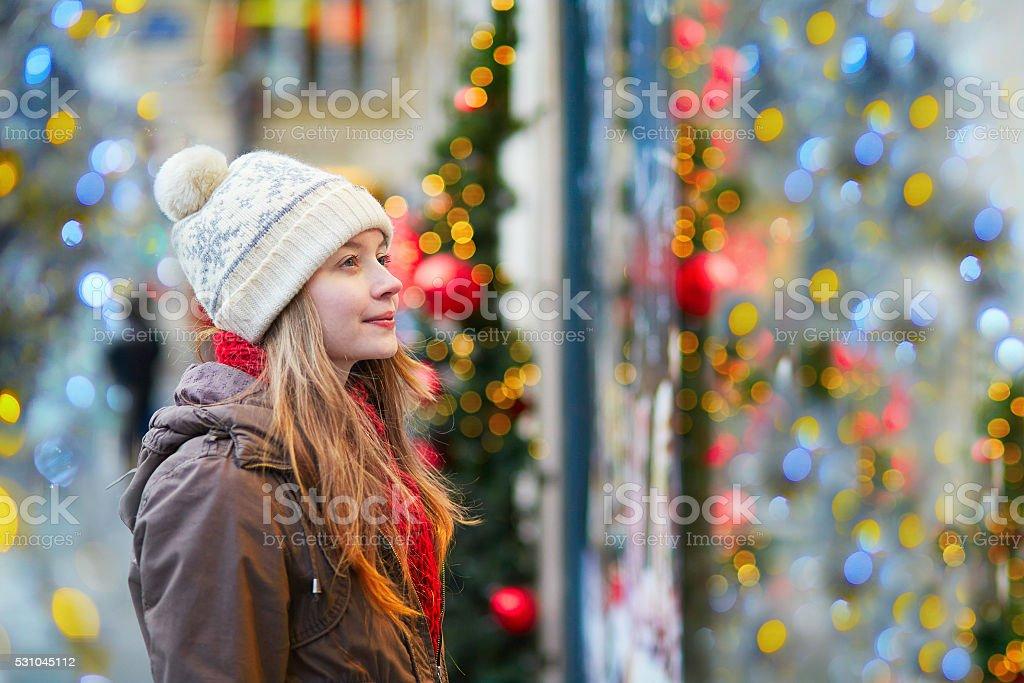 Girl at Christmas market stock photo