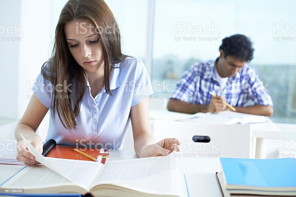 Girl at exam royalty-free stock photo