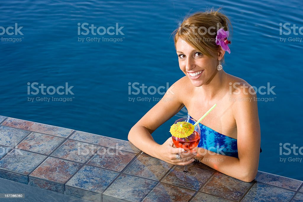 Girl at Poolside Bar stock photo
