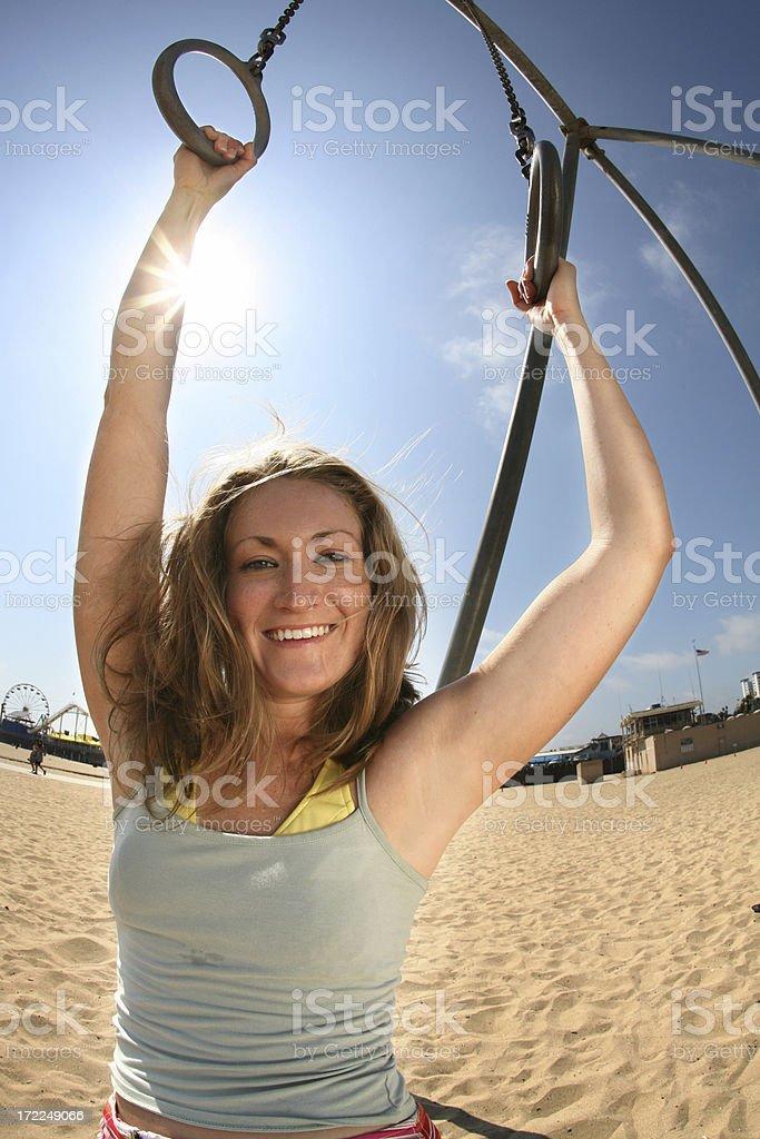 Girl at Santa Monica Beach royalty-free stock photo