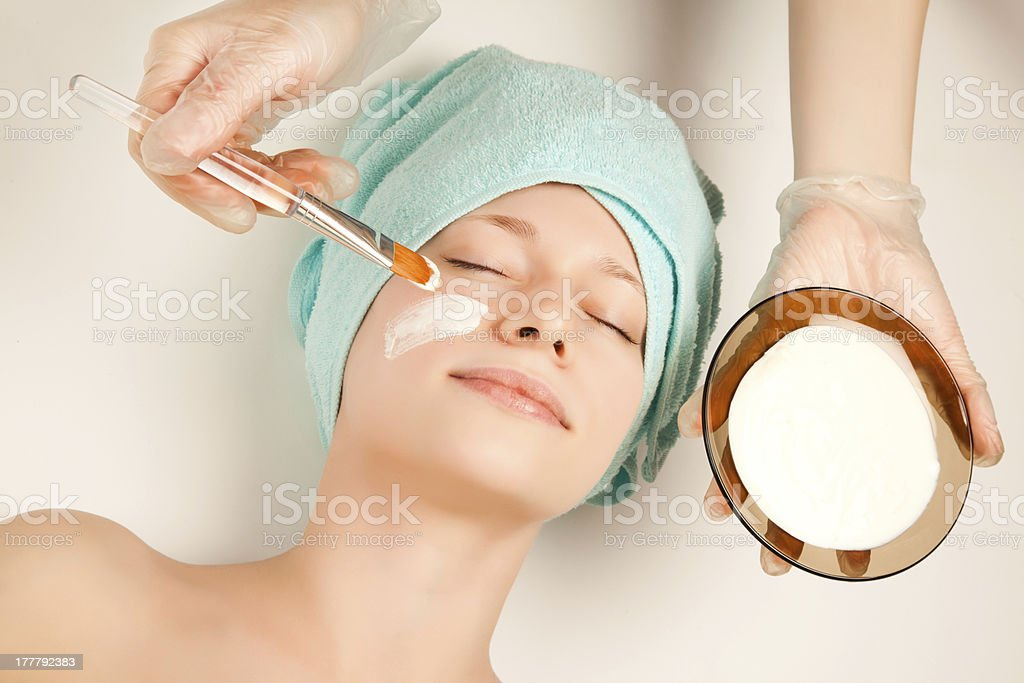 Girl at spa procedures royalty-free stock photo