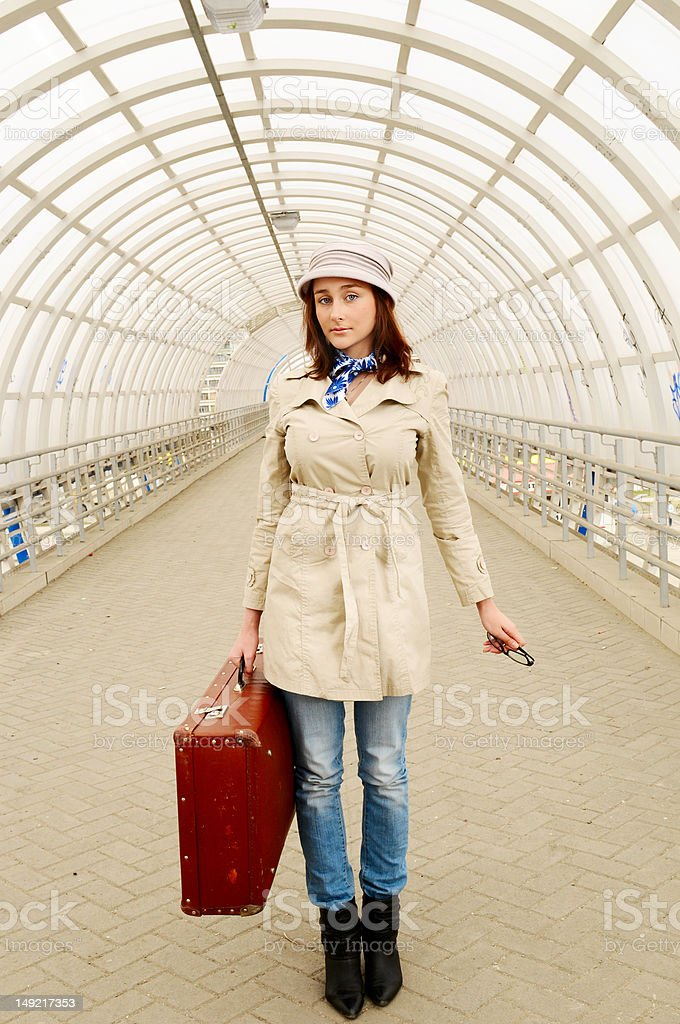girl at station royalty-free stock photo