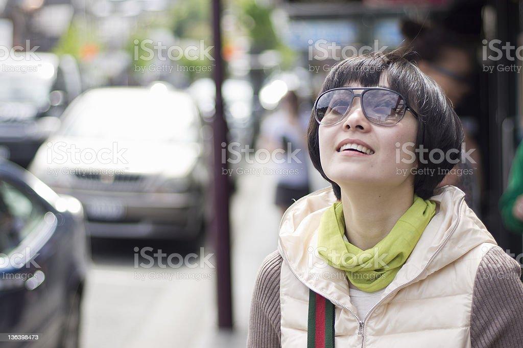 girl at sunny street royalty-free stock photo