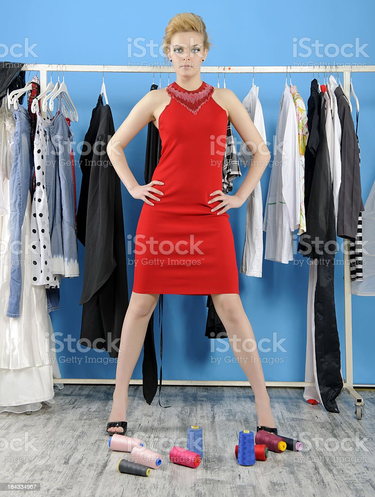 girl at tailor royalty-free stock photo