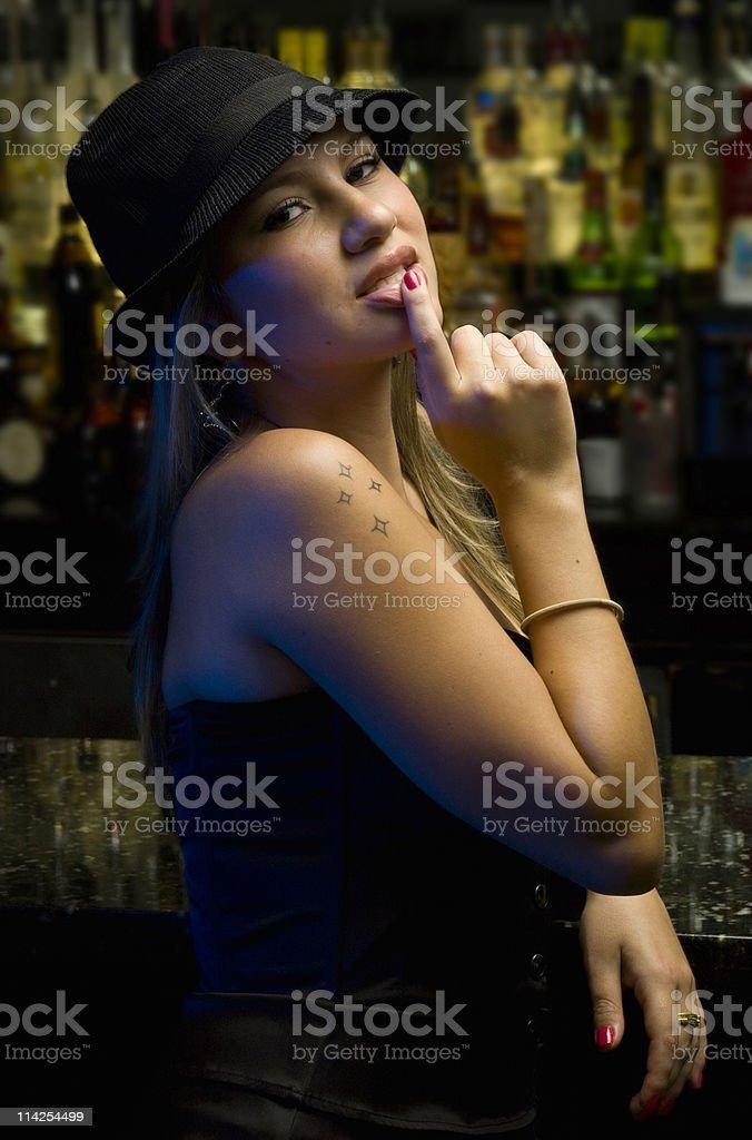 Girl at the bar royalty-free stock photo