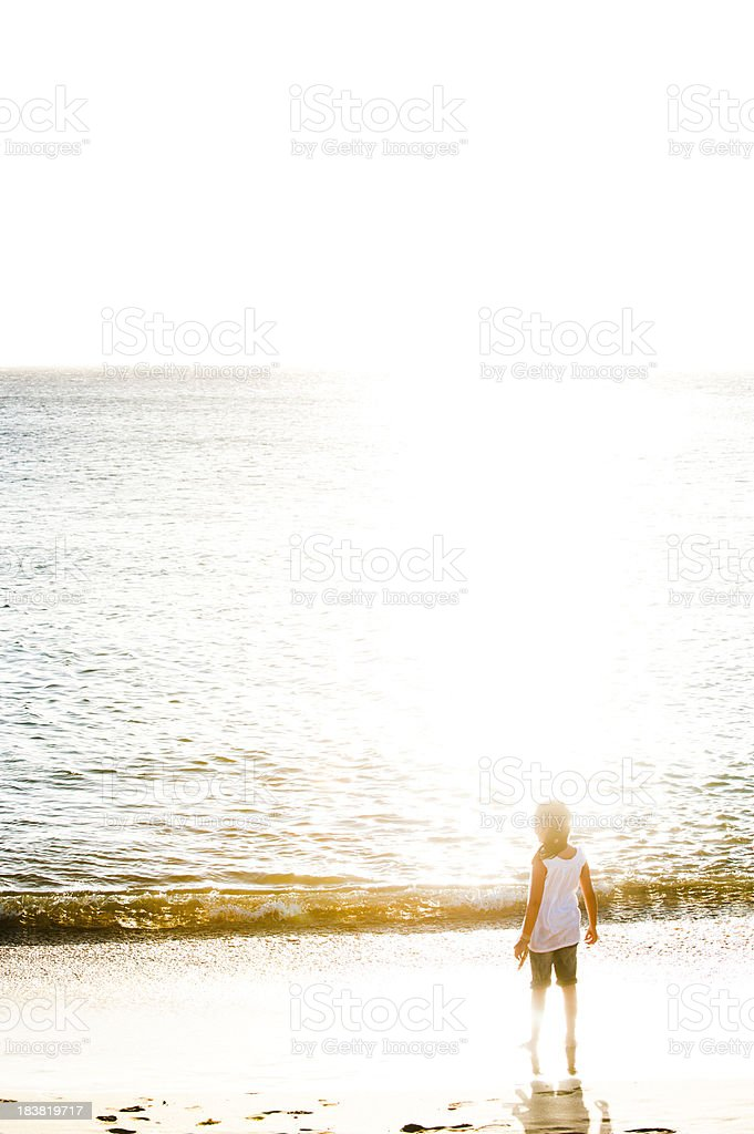 Girl At The Beach, Sunset royalty-free stock photo