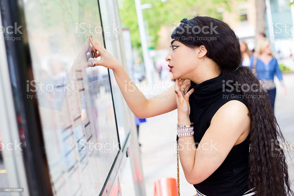 girl at the bus stop royalty-free stock photo