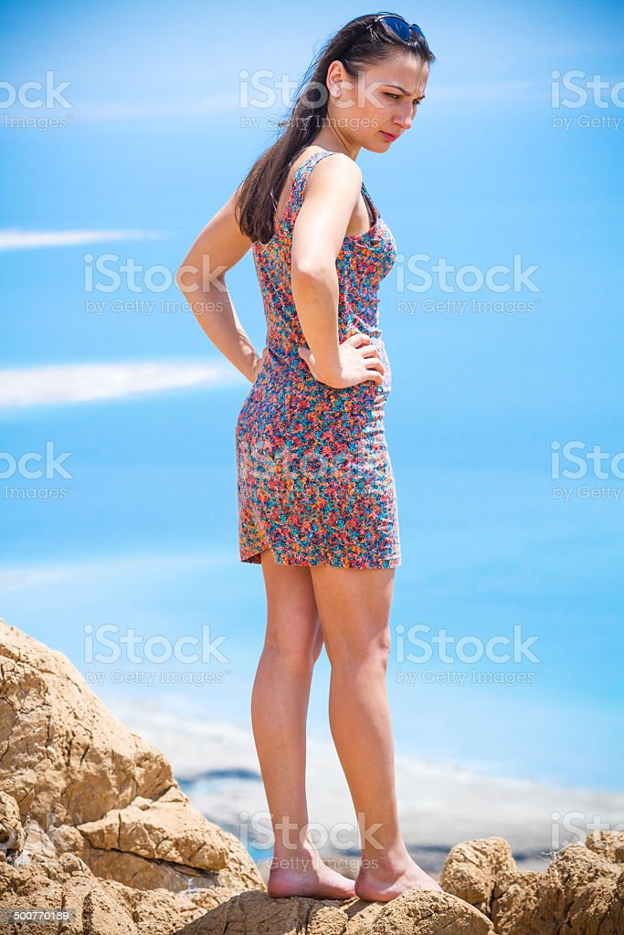 Girl at the Dead Sea stock photo