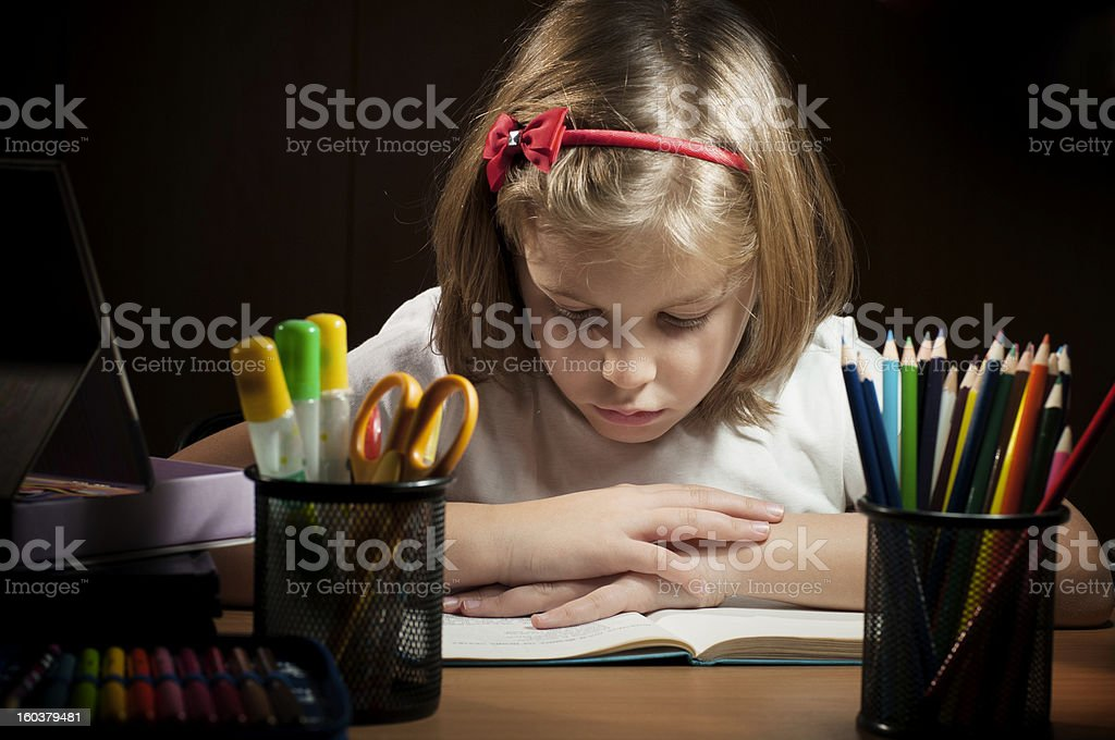 girl at the desk royalty-free stock photo